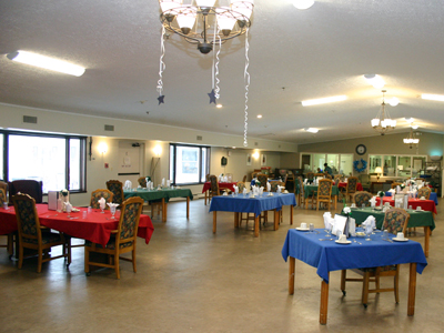 Stow-Glen Retirement Village Nursing home dining room